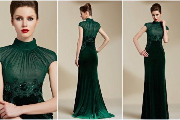 Feu vert avec une robe de soirée couleur verte